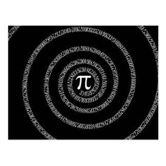 Spiral for Pi Typography on Black Postcard