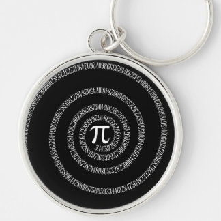 Spiral for Pi Typography on Black Silver-Colored Round Keychain