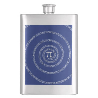 Spiral for Pi Typography on Blue Flask