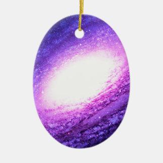 Spiral galaxy ceramic oval ornament