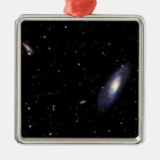 Spiral Galaxy M106 Silver-Colored Square Ornament