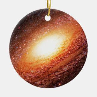Spiral galaxy round ceramic ornament