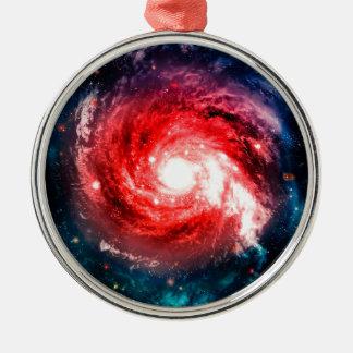 Spiral galaxy Silver-Colored round ornament