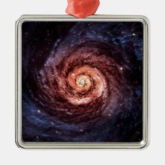 Spiral galaxy Silver-Colored square ornament