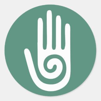 Spiral Hand healing hands Round Sticker