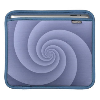 Spiral in Blue Brushed Metal Texture Print Sleeves For iPads