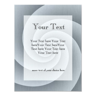Spiral in brushed metal texture personalized announcements