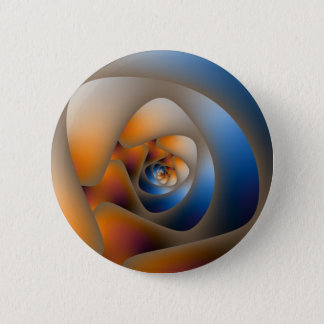 Spiral Labyrinth in Blue and Orange Doodle 2 Inch Round Button