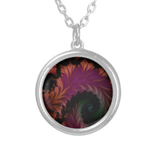 spiral leaf silver plated necklace