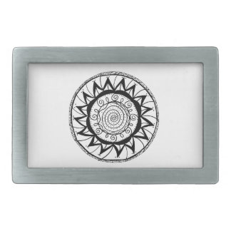Spiral Mandala Flower Belt Buckles