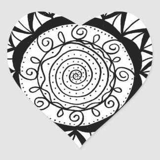 Spiral Mandala Flower Heart Sticker