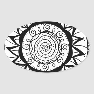 Spiral Mandala Flower Oval Sticker