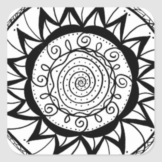 Spiral Mandala Flower Square Sticker