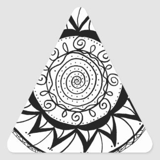 Spiral Mandala Flower Triangle Sticker