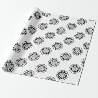 Spiral Mandala Flower Wrapping Paper