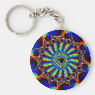 spiral-mandel basic round button keychain