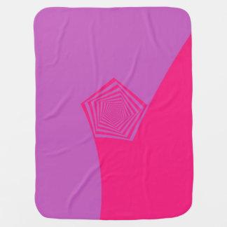 Spiral Pentagon in Pink and Violet Stroller Blanket