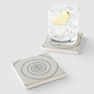 Spiral Pi Click Customize to Change Grey Color Stone Coaster