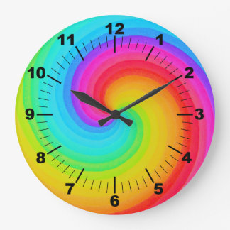 Spiral Rainbow of Hope Colorful Wall Clock