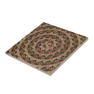 Spiral Rustic Red Textured Grunge Rose On Wood Tile