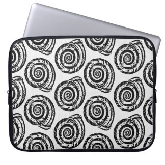 Spiral Seashell Block Print, Black and White Computer Sleeve