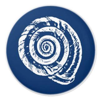 Spiral Seashell Block Print, Cobalt Blue and White Ceramic Knob