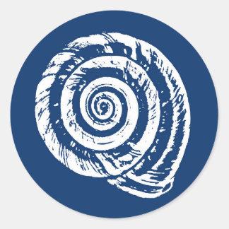 Spiral Seashell Block Print, Cobalt Blue and White Classic Round Sticker