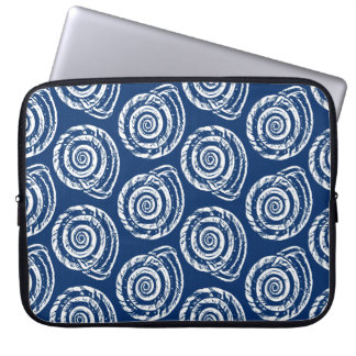 Spiral Seashell Block Print, Cobalt Blue and White Computer Sleeves