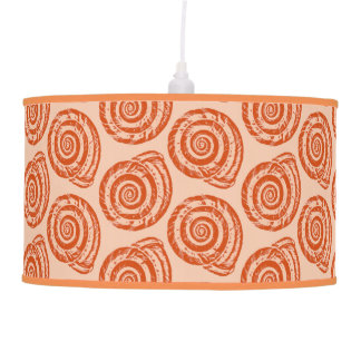 Spiral Seashell Block Print, Coral Orange Pendant Lamp