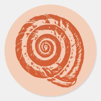 Spiral Seashell Block Print, Coral Orange Round Sticker