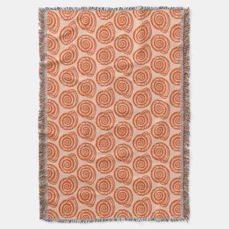 Spiral Seashell Block Print, Coral Orange Throw Blanket