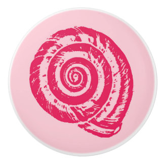 Spiral Seashell Block Print, Coral Pink & Fuchsia Ceramic Knob