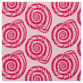 Spiral Seashell Block Print, Coral Pink & Fuchsia Fabric