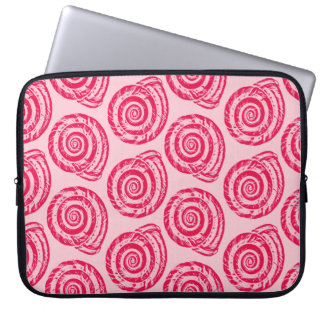 Spiral Seashell Block Print, Coral Pink & Fuchsia Laptop Sleeves
