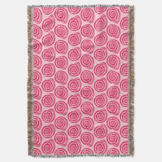 Spiral Seashell Block Print, Coral Pink & Fuchsia Throw Blanket