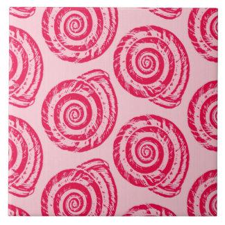 Spiral Seashell Block Print, Coral Pink & Fuchsia Tile