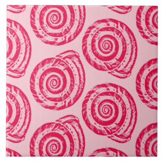 Spiral Seashell Block Print, Coral Pink & Fuchsia Tiles