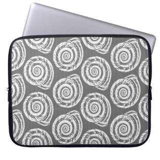 Spiral Seashell Block Print, Gray / Grey and White Laptop Sleeves