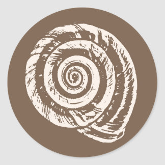 Spiral Seashell Block Print, Taupe Tan and Cream Classic Round Sticker