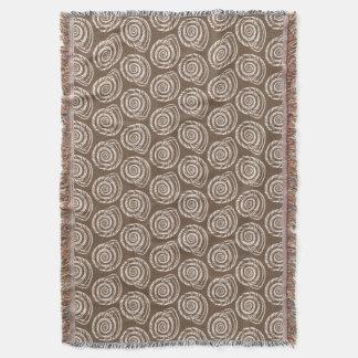 Spiral Seashell Block Print,Taupe Tan and Cream Throw Blanket