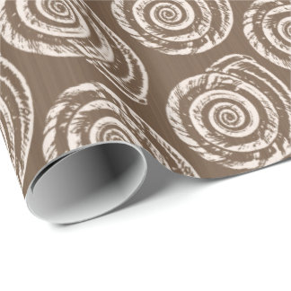 Spiral Seashell Block Print, Taupe Tan and Cream Wrapping Paper