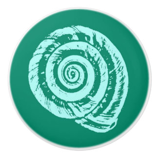 Spiral Seashell Block Print, Turquoise and Aqua Ceramic Knob