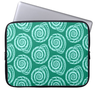 Spiral Seashell Block Print, Turquoise and Aqua Computer Sleeves
