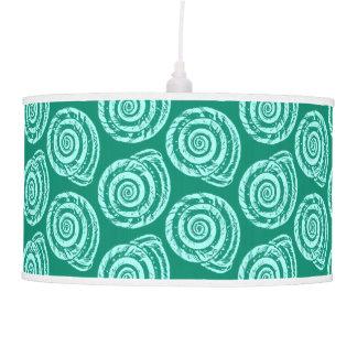 Spiral Seashell Block Print, Turquoise and Aqua Pendant Lamp