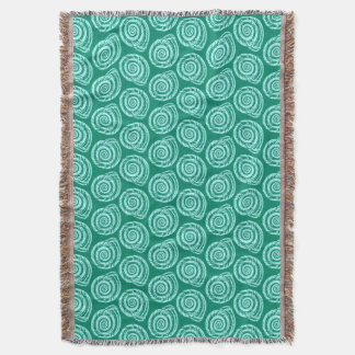 Spiral Seashell Block Print, Turquoise and Aqua Throw Blanket