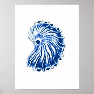 Spiral Shell, Indigo Blue and White Poster