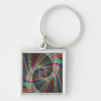 Spiral Silver-Colored Square Keychain
