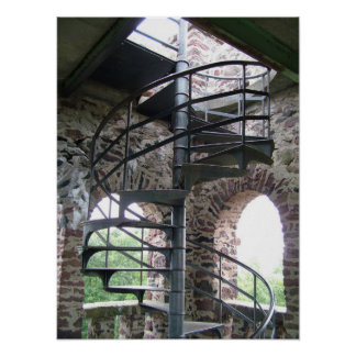 Spiral Staircase at Poet's Seat Tower in Mass. Poster