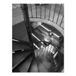 Spiral Staircase Black And White Photograph Poster
