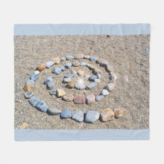 Spiral Stone Beach Art Fleece Blanket